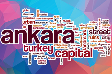 Ankara word cloud with abstract background
