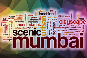 Mumbai word cloud with abstract background