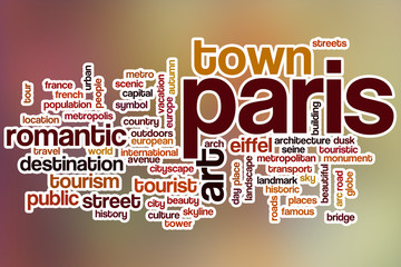 Paris word cloud with abstract background