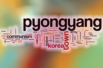 Pyongyang word cloud with abstract background