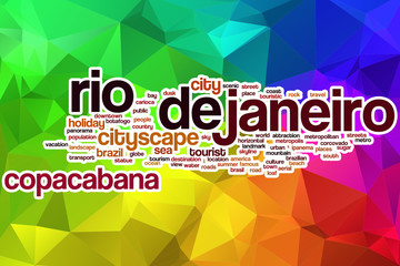 Rio de Janeiro word cloud with abstract background