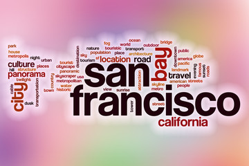 San Francisco word cloud with abstract background