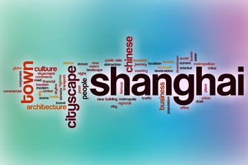 Shanghai word cloud with abstract background