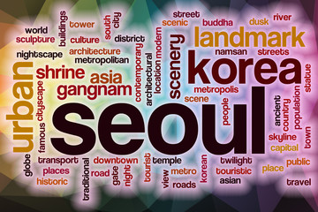 Seoul word cloud with abstract background