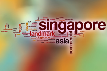 Singapore word cloud with abstract background
