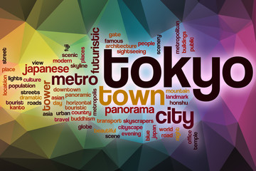 Tokyo word cloud with abstract background