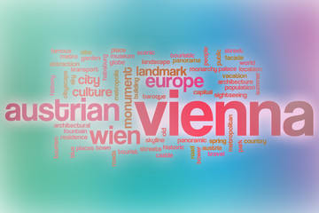 Vienna word cloud with abstract background