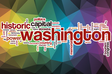 Washington word cloud with abstract background
