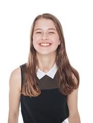 Happy young teenager girl isolated
