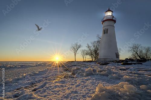 Fotobehang Vuurtoren / Mill Marblehead Lighthouse Sunrise