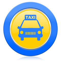 taxi blue yellow icon