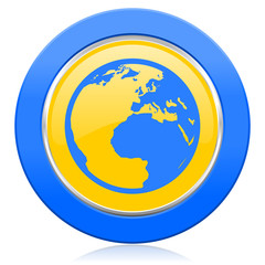 earth blue yellow icon world sign