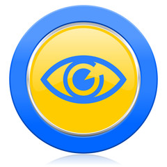 eye blue yellow icon view sign