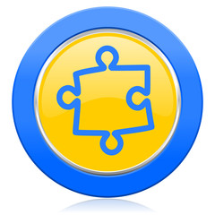 puzzle blue yellow icon