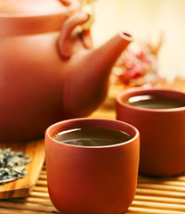 Green tea in Chinese cup and teapot