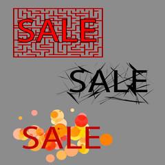 sale. set of three tag