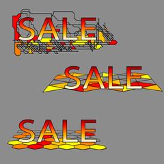 set of three sale text on geometrical grid