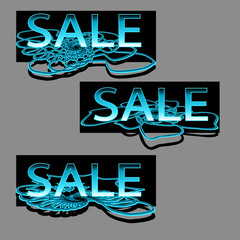set of three sale text on floral swirl