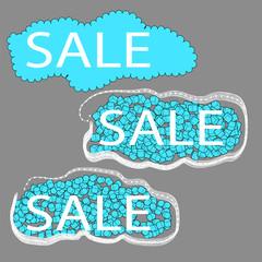 sale. set of three cloud tags