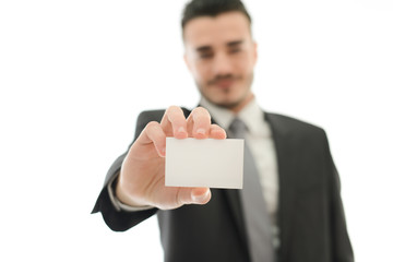 isolated business man showing his business card foreground