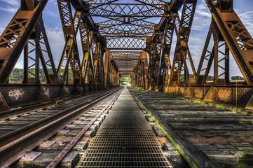 Looking Forward Over Old Abandoned Rusty Train Bridge