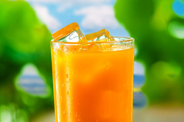 Fresh orange juice, cold drink with ice