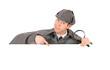 Sherlock: Detective Behind White Card Gestures Downwards
