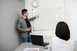 young business man or teacher working on white board