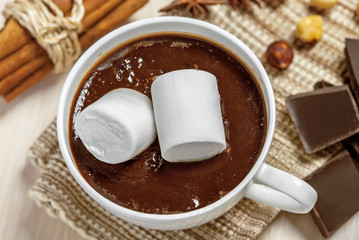 Mug of hot chocolate with marshmallow, cinnamon, anise and nuts