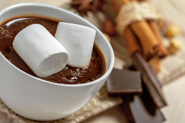 Hot chocolate with marshmallow in cup, close up