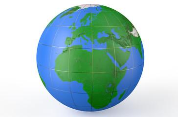 Earth globe, side of Africa
