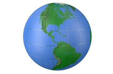 Earth globe, side of America