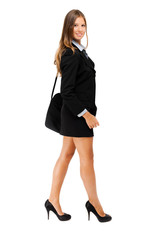 Smiling young female business woman full length