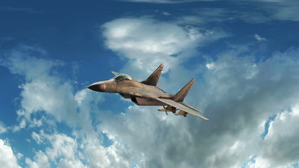 Fighter jet animation flying through cloudy sky.