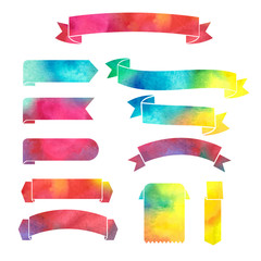 vector_watercolor_colorful_ribbons_banners