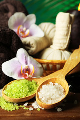 Spa treatments with orchid flowers