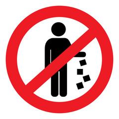 Круглый векторный запрещающий знак мусорить