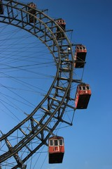 Vienna old big wheel on deep blue sky (2) / Prater