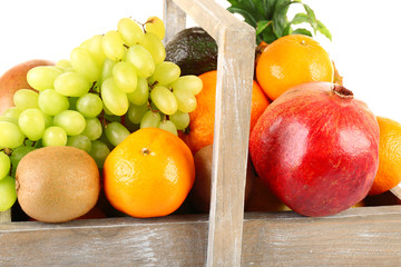 Assortment of fruits in box close-up