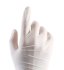 Doctor hand in sterile gloves showing sign, isolated