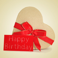 gift and text text happy birthday in red signboard, with a retro
