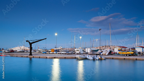 Plexiglas Athene Quay in Kallithea marina in early morning, Athens, Greece.