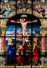 The Crucifixion, Stained Glass of Jesus on the Cross
