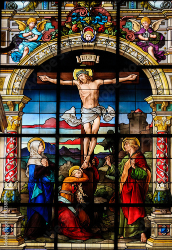 Poster The Crucifixion, Stained Glass of Jesus on the Cross