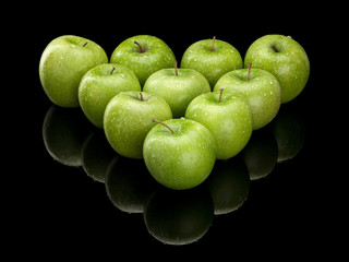 Ten green apples