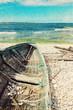 Old wooden boat on the seashore, retro image - 78339852