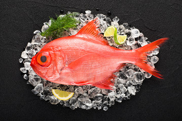 Red palometa fish on ice on a black stone table top view