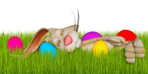 Cartoon Easter bunny sleeping in grass