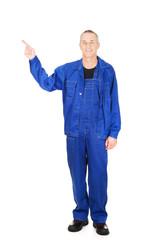 Smiling repairman pointing up