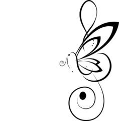 Fantasia musicale con farfalla e chiave